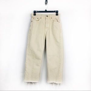 Zara Cream High Rise Raw Hem Crop Jeans Size 4